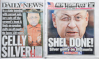 The New York Post and Dialy News report on Tuesday, December 1, 2015 about the conviction of former New York State Assembly Speaker Sheldon Silver on all counts in his corruption trial. (© Richard B. Levine)
