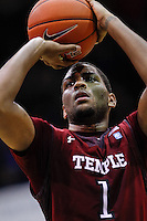 INDIANAPOLIS, IN - JANUARY 26: Khalif Wyatt #1 of the Temple Owls shoots a free throw against the Butler Bulldogs at Hinkle Fieldhouse on January 26, 2013 in Indianapolis, Indiana. (Photo by Michael Hickey/Getty Images) *** Local Caption *** Khalif Wyatt