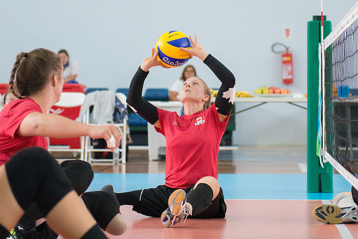 RIO DE JANEIRO - 6/9/2016:  Jolan Wong as Canada's Womens Sitting Volleyball team plays a practice match vs Team USA at the Paralympic Village at the Rio 2016 Paralympic Games. (Photo by Matthew Murnaghan/Canadian Paralympic Committee