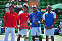 (L to R) Eiji Takeuchi (JPN), Yuichi Sugita (JPN), Somdev Devvarman (IND), Shiv Prakash Misra (IND), SEPTEMBER 16, 2011 - Tennis : Davis Cup by BNP Paribas 2011 World Group play-off match Yuichi Sugita (JPN) 3(6-3 6-4 7-5)0 Somdev Devvarman (IND) at Ariake Colosseum, Tokyo, Japan. (Photo by Jun Tsukida/AFLO SPORT) [0003]