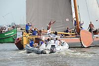 ZEILEN: SNEEK: Snitser Mar, 01-08-2014, SKS skûtsjesilen, finalewedstrijd, Jouster skûtsje wint, ©foto Martin de Jong