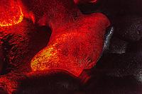 A close-up of a lava tongue at night near Kalapana on the Big Island of Hawai'i.