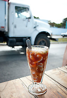"""A shrimp """"coctail"""" on a roadside stand.  Truckers will often stop for one between breakfast and lunch. Cocteleria El Tigre, Champotòn, Campeche, Mexico"""