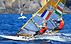 Portugal, Funchal, Madeira :  Louis Giard and Aron Gadorfalvi, competes on February 24, in 2012 European Windsurfing Championships in the bay of Funchal on the Portuguese archipelago of Madeira.Photo Gregorio Cunha .Campeonato da Europa de windsuf, classe RSX, na baia da cidade do Funchal,  Iha da Madeira, Portugal..Foto Gregorio Cunha