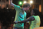 Sean Kaufman dances with Sharon Jones and the Dap Kings at the Double Decker Arts Festival  in Oxford, Miss. on Saturday, April 24, 2010.