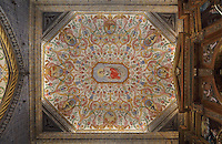 Painted ceiling, 17th century, by Francisco F de Araujo, with central medallion of St Catherine of Alexandria, representing wisdom and patron saint of students and teachers, in the Sao Miguel Chapel, or St Michael's Chapel, designed in Manueline style 1517-22 by Marco Pires and completed by Diogo de Castilho, on the site of a 12th century chapel in the University of Coimbra, Coimbra, Portugal. The chapel was renovated in the 17th and 18th centuries, with pulpit built by Manuel Ramos in 1684, tiled floor added 1613, Baroque organ with 2,000 pipes built 1733 by Fray Manuel de Sao Bento, chinoiserie painting by Gabriel Ferreira da Cunha in 1737, and Mannerist altarpiece designed by Bernardo Coelho in 1605 and made by sculptor Simon Mota, with paintings by Simon Rodrigues and Domingos Vieira Serrao. The University of Coimbra was first founded in 1290 and moved to Coimbra in 1308 and to the royal palace in 1537. The building is listed as a historic monument and a UNESCO World Heritage Site. Picture by Manuel Cohen