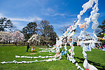 April 21, 2013 - Roslyn Harbor, New York, U.S. - At Celebrate Earth Day at Nassau County Museum of Art, people bring plastic bags to recycle into a Bag Flag, which is a string sculpture piece of art, with artists from NYC art collective Free Style Arts Association.