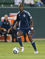 CARSON, CA – May 14, 2011: Sporting KC forward Kei Kamara during the match between LA Galaxy and Sporting Kansas City at the Home Depot Center in Carson, California. Final score LA Galaxy 4, Sporting Kansas City 1.