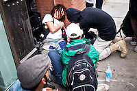 An Occupy Wall Street member is attended after clashes with NYPD officers during a  march against police brutality in New York, United States. 24/03/2012.  Photo by Eduardo Munoz Alvarez / VIEWpress.