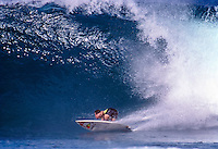 Ross Clarke Jones (AUS) surfing at Off The Wall on Oahu's North Shore in the late 80's. circa 1989. Photo: joliphotos.com