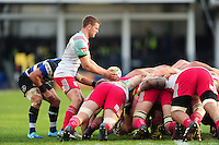 Charlie Mulchrone of Harlequins looks to put the ball into a scrum. Aviva Premiership match, between Bath Rugby and Harlequins on February 18, 2017 at the Recreation Ground in Bath, England. Photo by: Patrick Khachfe / Onside Images