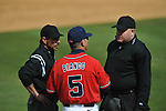 Ole Miss coach Mike Bianco talks to the umpires vs. Houston at Oxford-University Stadium in Oxford, Miss. on Sunday, March 11, 2012. Ole Miss won 11-3 to sweep the three-game series.