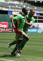 Loic Loval (left) celebrates his goal with Mickael Antoine-Curier (right). Guadeloupe defeated Panama 2-1 during the First Round of the 2009 CONCACAF Gold Cup at Oakland Coliseum in Oakland, California on July 4, 2009.