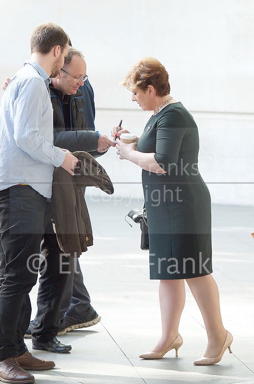 Andrew Marr Show <br /> departures <br /> BBC, Broadcasting House, London, Great Britain <br /> 9th April 2017 <br /> <br /> Emily Thornberry<br /> Shadow Foreign Secretary<br /> signs an autograph <br /> <br /> Photograph by Elliott Franks <br /> Image licensed to Elliott Franks Photography Services