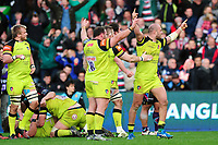 Leicester Tigers players celebrate at the final whistle. Anglo-Welsh Cup Final, between Exeter Chiefs and Leicester Tigers on March 19, 2017 at the Twickenham Stoop in London, England. Photo by: Patrick Khachfe / JMP