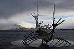 The Sun Voyager sculpture in Reykjavik, designed by Jón Gunnar Árnason, taken in March 2009.