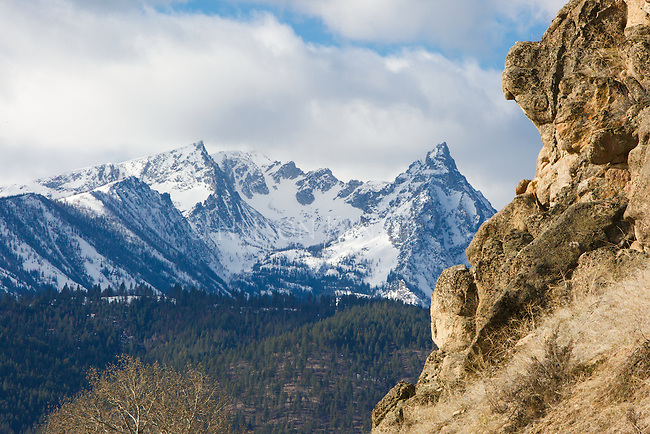 Trapper Peak in early spring. Snowcapped peaks. In the Bitterroot Mountain Range in western Montana