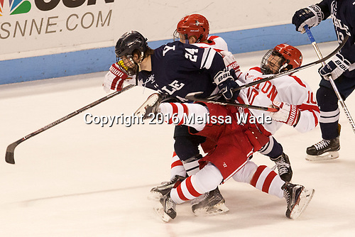 Chase Phelps (BU - 12), Mike Doherty (Yale - 24), Gabriel Chabot (BU - 10) The Boston University Terriers defeated the visiting Yale University Bulldogs 5-2 on Tuesday, December 13, 2016, at the Agganis Arena in Boston, Massachusetts.