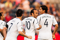 Landon Donovan (10) of the Los Angeles Galaxy celebrates a Galaxy goal during the first half against the Philadelphia Union. The Los Angeles Galaxy defeated the Philadelphia Union 4-1 during a Major League Soccer (MLS) match at PPL Park in Chester, PA, on May 15, 2013.