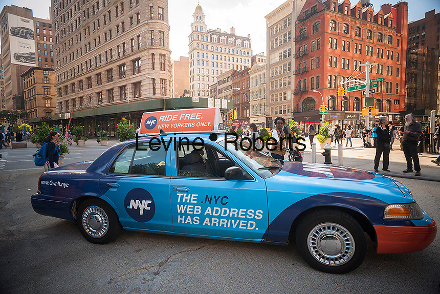 "The new top-level domain, "".nyc"" is promoted at an event in Madison Square in New York on Wednesday, October 8, 2014. The new domain is available only to those businesses and individuals with a physical address in New York City and the first "".nyc founders"" went live in the past few weeks. Over 10,000 domain names have already been registered. (© Richard B. Levine)"