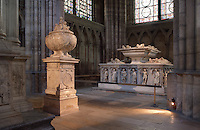 Funerary Urn of the Heart of Francois I, white marble, 1556, by Pierre Bontemps, origine Hautes Bruyeres Abbey (Yvelines); Funerary Monument of The Dukes of Orleans in the background, Abbey church of Saint Denis, Seine Saint Denis, France. Picture by Manuel Cohen