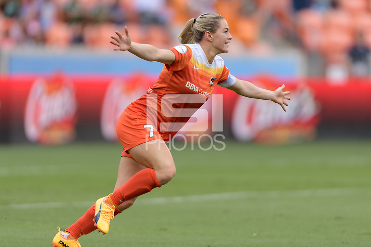 Houston, TX - Saturday April 15, 2017: Kealia Ohai celebrates after scoring the first goal during a regular season National Women's Soccer League (NWSL) match between the Houston Dash and the Chicago Red Stars at BBVA Compass Stadium.