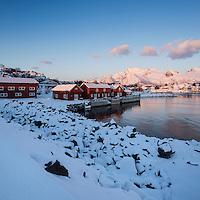 Red huts at sunrise in winter, Kabelvåg, Austvågøy, Lofoten Islands, Norway
