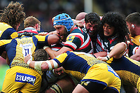 A general view of forwards from both sides competing at a maul. Aviva Premiership match, between Leicester Tigers and Worcester Warriors on October 8, 2016 at Welford Road in Leicester, England. Photo by: Patrick Khachfe / JMP