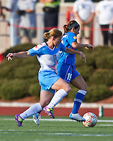 Chicago Red Stars midfielder/forward Lori Chalupny (17) and Boston Breakers defender Bianca D'Agostino (19) compete for the ball.  The Boston Breakers beat the Chicago Red Stars 1-0 at Dilboy Stadium.