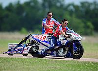 Apr. 28, 2012; Baytown, TX, USA: NHRA pro stock motorcycle rider Hector Arana Jr during qualifying for the Spring Nationals at Royal Purple Raceway. Mandatory Credit: Mark J. Rebilas-