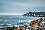 Winter along the Shore Path in Acadia National Park, Maine, USA