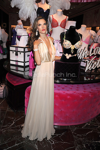 NEW YORK, NY - OCTOBER 18: Victoria's Secret Angel Alessandra Ambrosio reveals the Floral Fantasy Bra designed by London Jewelers, valued at $2.5 million at Herald Square on October 18, 2012 in New York City. ©mpi01/MediaPunch Inc.