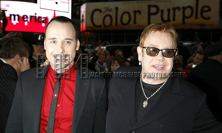 Elton John & David Furnish attending the Opening Night of Warner Bros. Theatre Ventures' Inaugural production of LESTAT at the Palace Theatre with an after party at Time Warner Center in New York City. April 25, 2006.© Walter McBride/WM Photography