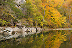 The Buffalo River displays its natural beauty, reflecting hues of autumn just before the season&rsquo;s peak of color. <br /> <br /> Still Water Reflections