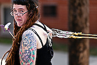 This photo was also taken at the Doo Dah Parade.  This person was one member of a group of six who pierced their backs, attached ropes to themselves, and pulled a small car in the parade.