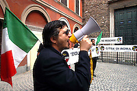"Roma 6 Settembre 2007  .Manifestazione  del partito  ""La Destra""  contro l'apertura di una Moschea al quartiere  Esquilino  .Fabio Sabbatani Schiuma, portavoce del partito ""La Destra"" a Roma.Sul manifesto dietro è scritto ""No  Chiese?...No Moschee!.Rome September 6 th 2007  .Demonstration of the party ""La Destra"" against the opening of a Mosque to the district Esquilino  .Fabio Sabbatani Schiuma, spokesman of the party ""La Destra"" to Rome.On the Banner  ""No Church?... No Mosques!"