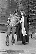 December 1970, New York City, New York State, USA. French Canadian actor Michael Sarrazin with his partner British actress Jacqueline Bisset on the set of Believe in Me, directed by Stuart Hagmann. Image by © JP Laffont