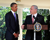 Prime Minister Benjamin Netanyahu of Israel makes a statement on the killings in the West Bank after meeting United States President Barack Obama in the Oval Office of the White House in Washington, D.C. on Wednesday, September 1, 2010. .Credit: Ron Sachs / Pool via CNP