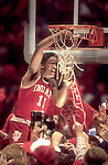 30 MAR 1981:  Indiana guard Isiah Thomas (11) cuts the net after winning the NCAA Men's National Basketball semifinal game held in Philadelphia, PA, at The Spectrum. Indiana defeated LSU 67-49 to meet North Carolina in the championship game. Thomas was named MVP for the tournament. Photo by Rich Clarkson/NCAA Photos.SI CD1646-60