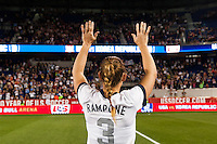 United States (USA) defender Christie Rampone (3) salutes the fans after the game. The women's national team of the United States defeated the Korea Republic 5-0 during an international friendly at Red Bull Arena in Harrison, NJ, on June 20, 2013.