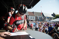 Thor Hushovd (NOR/BMC) signing in 1 last time<br /> <br /> GP Impanis 2014