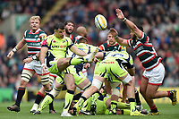Mike Phillips of Sale Sharks box-kicks the ball. Aviva Premiership match, between Leicester Tigers and Sale Sharks on April 29, 2017 at Welford Road in Leicester, England. Photo by: Patrick Khachfe / JMP