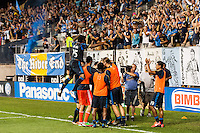 Conor Casey (6) of the Philadelphia Union celebrates scoring with teammates. The Philadelphia Union defeated D. C. United 2-0 during a Major League Soccer (MLS) match at PPL Park in Chester, PA, on August 10, 2013.