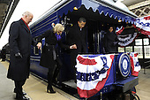 Wilmington, DE - January 17, 2009 -- United States President-elect Barack Obama (2nd-R) Vice President-elect Joe Biden (L), Obama's wife Michelle (R), and Biden's wife Jill board the train as they leave Wilmington, Delaware, where Obama picked up Biden on the Whistle Stop Train Tour on Saturday, January 17, 2009. The ceremonial trip will carry President-elect Obama, Vice President-elect Biden and their families to Washington for their inaugurations with additional events in Philadelphia, Wilmington and Baltimore. Obama will be sworn in as the 44th President of the United States of January 20, 2009..Credit: Kevin Dietsch - Pool via CNP