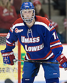 A.J. White (UML - 18) - The visiting University of Massachusetts Lowell River Hawks defeated the Boston University Terriers 3-0 on Friday, February 22, 2013, at Agganis Arena in Boston, Massachusetts.
