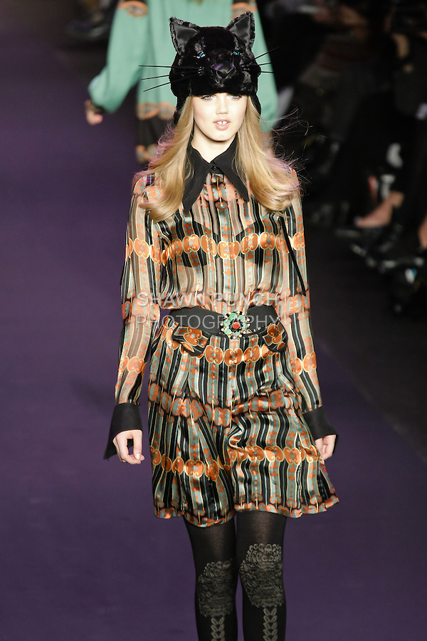 Lindsey Wixson walks runway in an outfit from the Anna Sui Fall 2011 collection, during Mercedes-Benz Fashion Week Fall 2011.