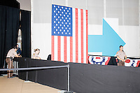 Police wait for the arrival of Democratic presidential nominee Hillary Clinton before her speech at a campaign rally in the Theodore R. Gibson Health Center at Miami Dade College-Kendall Campus in Miami, Florida, USA. Former Vice President Al Gore also spoke at the rally.
