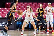 College Park, MD - DEC 6, 2016: Maryland Terrapins guard Sarah Myers (21) gets back on defense during game between Towson and Maryland at XFINITY Center in College Park, MD. The Terps defeated the Tigers 97-63. (Photo by Phil Peters/Media Images International)