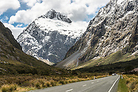 Road to Milford Sound with Mount Talbot 2105m after fresh snowfall, Fiordland National Park, UNESCO World Heritage Area, Southland, New Zealand, NZ