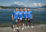 FC Luzern v St Johnstone...16.07.14  Europa League 2nd Round Qualifier<br /> Saints fans in the beautiful city of Luzern, pictured from left to right, Alan Brown, Ruari Kaylor, Sam Rush and Ross Kaylor.<br /> Picture by Graeme Hart.<br /> Copyright Perthshire Picture Agency<br /> Tel: 01738 623350  Mobile: 07990 594431